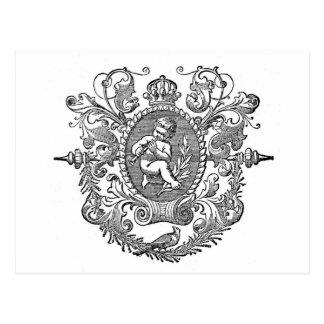 Postal Diseño francés de la querube de la tipografía del