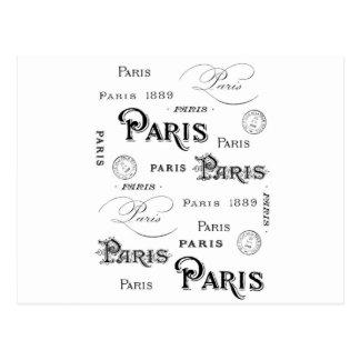 Postal diseño francés París de la tipografía del vintage