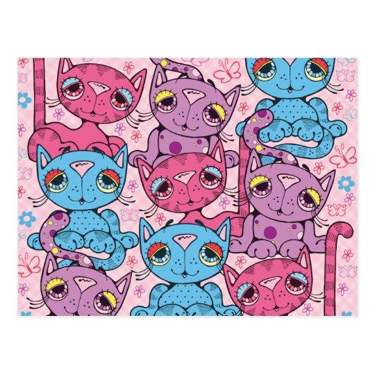 Postal Diseño gráfico del gatito del modelo colorido del