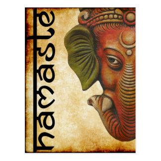 Postal Diseño indio del namaste del ganesha de dios de la
