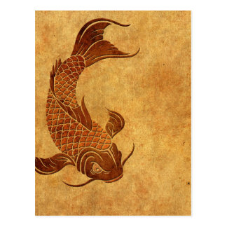 Postal Diseño llevado vintage de los pescados de Koi