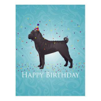 Postal Diseño negro del cumpleaños de Shar Pei