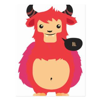 Postal diseño rojo lindo de la vaca