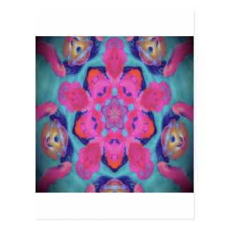 Postal Diseño rosado y azul del caleidoscopio