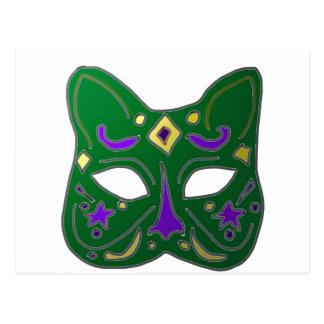 Postal Diseño veneciano verde de la máscara del gato