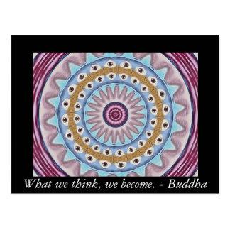 Postal Diseño visual del rezo con cita del budista de ZEN