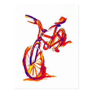 Postal Diseños coloridos de la bici