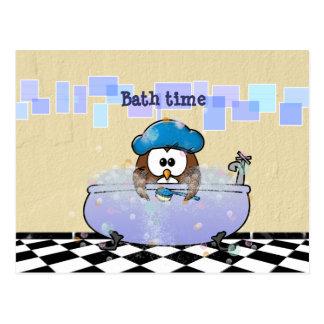 Postal diversión del tiempo del baño