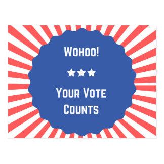 Postal ¡Diversión estupenda Wohoo! ¡Su voto cuenta las