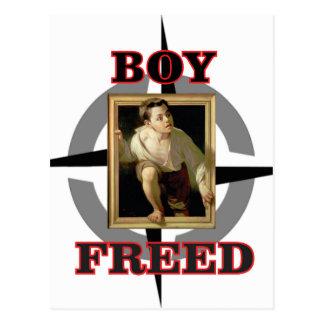 Postal diversión liberada muchacho del arte