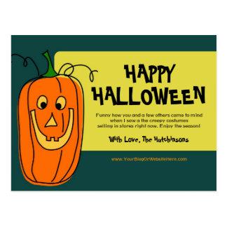 Postal divertida de Halloween de la calabaza
