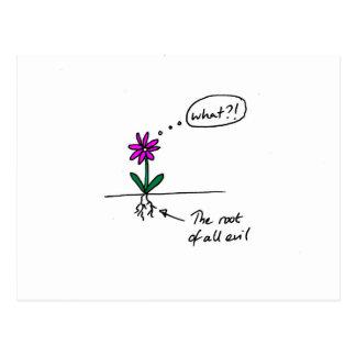 Postal divertida de la flor