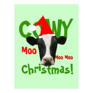 Postal divertida de la vaca de Santa del navidad