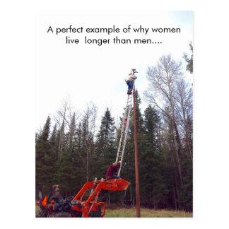 Postal divertida de VS Hombre de las mujeres