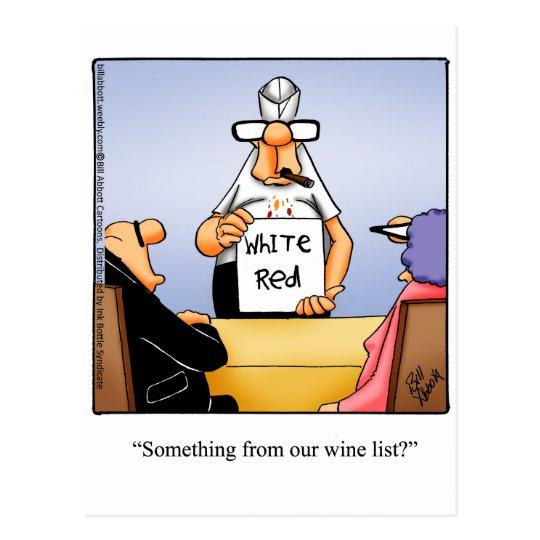 Postal divertida del humor del vino