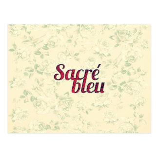 Postal Divertido francés cruzado oscuro floral de Sacre