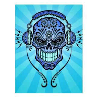 Postal DJ azul azucara el cráneo con los rayos de la luz