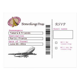 Postal Documento de embarque RSVP