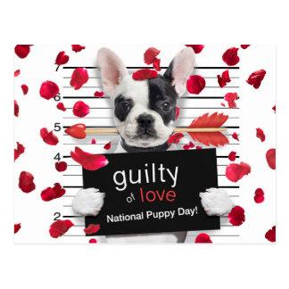 Postal Dogo francés del el día de San Valentín