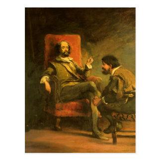 Postal Don Quijote y Sancho Panza