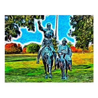 Postal Don Quijote y Sancho Panza a caballo