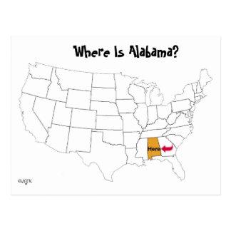 Postal ¿Dónde está Alabama?