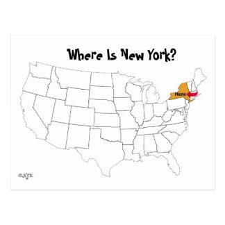 Postal ¿Dónde está Nueva York?