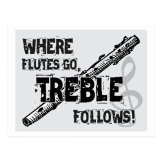 Postal Donde van las flautas - el triple sigue