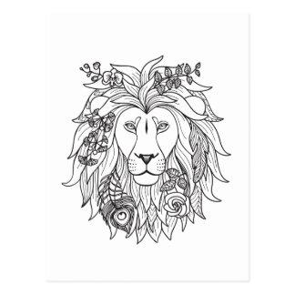 Postal Doodle del león y de las flores