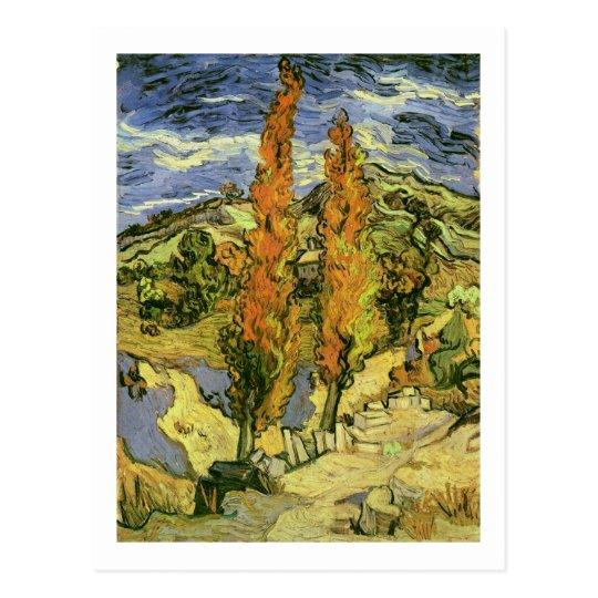 Postal Dos álamos en un camino, bella arte de Van Gogh