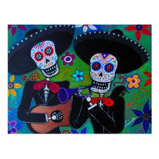 Postal DOS Amigos Dia de los Muertos Mariachi