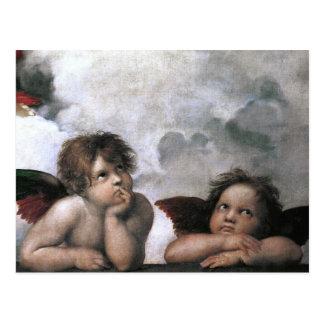 Postal Dos ángeles, bella arte del vintage de Raphael