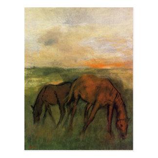 Postal Dos caballos en un pasto de Edgar Degas