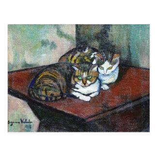 Postal Dos gatos de Suzanne Valadon