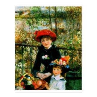 Postal Dos hermanas en la terraza por Renoir