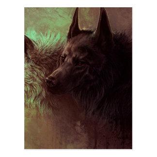 Postal dos lobos - lobo de la pintura