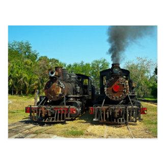 Postal Dos locomotoras de vapor de Baldwin
