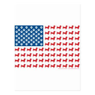 Postal Doxie - bandera americana patriótica del Dachshund
