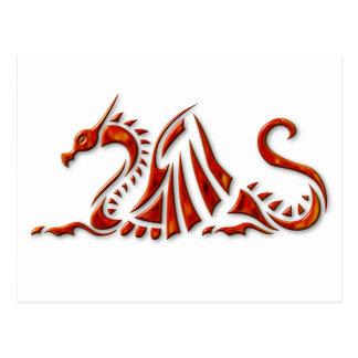 Postal Dragón biselado rojo metálico