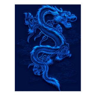 Postal Dragón chino azul