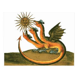 Postal Dragón de la alquimia con la luna y Sun