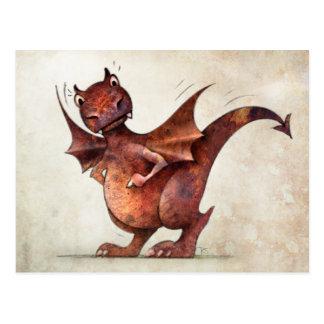 Postal Dragón divertido del niño el pequeño