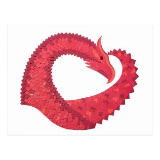 Postal Dragón rojo del corazón en blanco