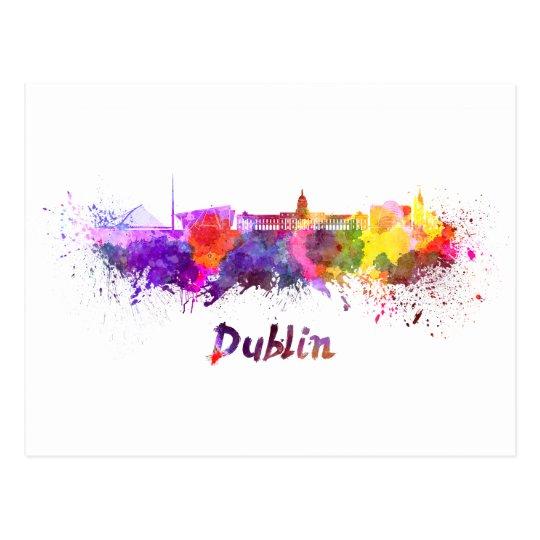 Postal Dublin skyline in watercolor