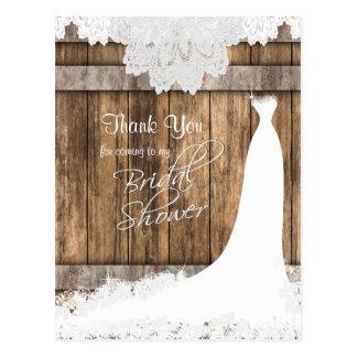 Postal Ducha nupcial en cordón rústico de madera y del