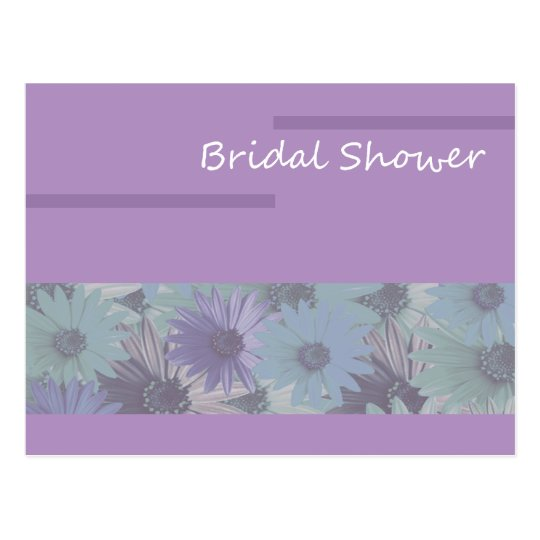 Postal ¡ducha nupcial! floral púrpura
