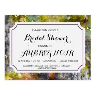 Postal Ducha nupcial para el boda del viñedo o del lagar