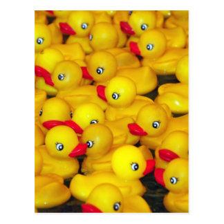 Postal Duckies de goma amarillos lindos
