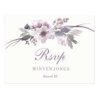 Postal Dulce de invierno púrpura floral elegante 16 RSVP