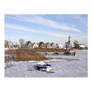 Postal Durgerdam en los Países Bajos en invierno